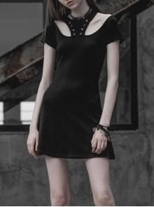 Steam Punk Female Black Binding Hollow Elastic Dress