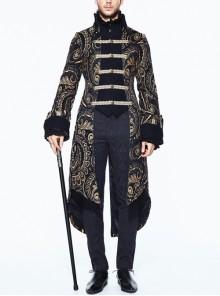 Gothic Folded Collar Gold Paisley Jacquard Fake Two Pieces Men Black Fleece Pirate Coat