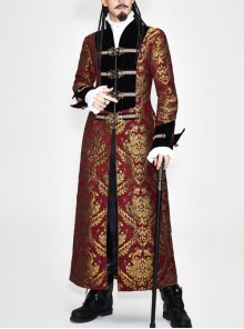 Gothic Pattern Buttons Decorated Gold Ribbons Folding Cuffs Red Jacquard Black Velveteen Long Men Coat