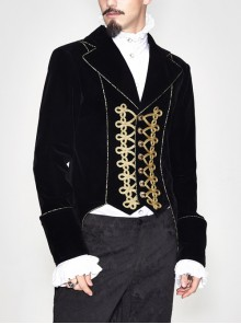 Golden Disc Flowers Decorated Buckle Hand-Embroidered Gothic Flower Black Men Coat