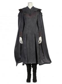 Game Of Thrones Season 7 Dragon Mother Daenerys Targaryen Black Dress Set With Cloak Halloween Cosplay Costume Full Set
