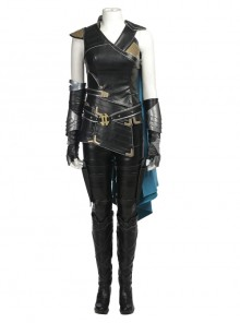 Thor Ragnarok Valkyrie Black Battle Suit Halloween Cosplay Costume Full Set