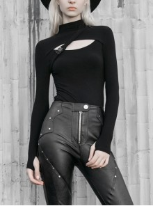 Black High Collar Chest Hollow Hasp Long Sleeve Skinny Punk T-Shirt