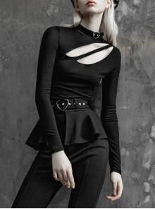 Heart-Shaped Metal Buckle Small High Collar Chest Asymmetrical Hollow Black Punk Tight T-Shirt