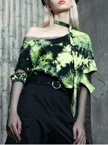 Black And Green Tie-Dye Fake Two Pieces Splice Mesh Long Sleeve One Side Off-Shoulder Punk T-Shirt