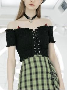 Off-Shoulder Red Cat Ear Decoration Chest Lace-Up Frill Hem Black Gothic Crop Blouse