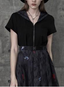 Spider Ink Printed Sailor Collar Cross Zipper Black Punk Short Uniform Jacket Top