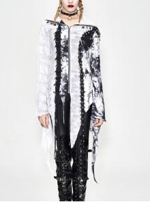 Punk Tassel Braid Hood Black Tie-Dyed White Jersey Worn Out Asymmetrical Coat