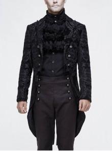Gothic Thick Black Jacquard Split Design Basic Dress Coat