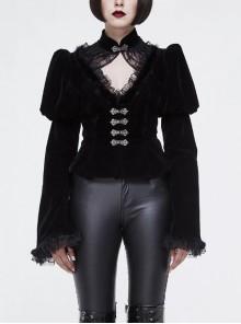 Gothic Vintage-Carved Hook Clasp Big Stand V-Collar Rabbit Hair Lace Cuff Black Jacquard Weft Velveteen Long Men Coat