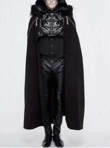 Gothic Metal Chain Decorated Black Jacquard Woolen Hooded Fur Collar Cloak