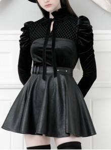 High Collar Bow Lace-Up Frill Long Sleeve Mesh Black Gothic Velvet Blouse