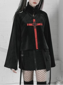 High Collar Chest Orange Plaid Cross Knit Strap Hasp Long Sleeve Black Punk Sweater