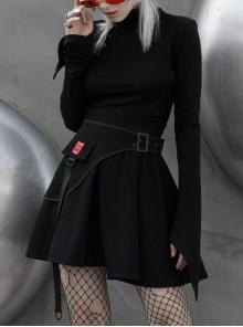 Small High Collar Neck Oblique Flap Shoulder Pad Horn Sleeve Black Punk T-Shirt