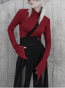 Small High Collar Neck Oblique Flap Shoulder Pad Sharp Horn Sleeve Red Punk T-Shirt