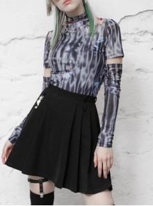 Stand-Up Collar Hollow Long Sleeve Black And White Elastic Mesh Printed Punk Tight T-Shirt