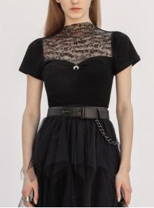 Small High Collar Chest Splice Printed Lace Mesh Moon Pendant Short Sleeve Black Punk T-Shirt