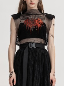 Small High Collar Shoulder Pads Cheat Pattern Embroidered Black Punk Mesh Vest