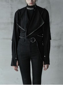 Small Hasp Stand-Up Collar Fold-Out Cuff Black Punk Profile Short Jacket