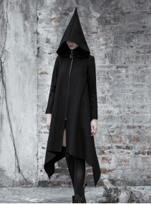 Sharp Angle Wizard Hat Moon-Shaped Zipper Asymmetrical Hem Black Punk Long Coat