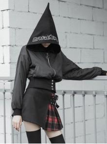 Black Sharp Angle Wizard Hat Letter Embroidery Metal Buckle Fake Waist Seal Hem Punk Short Jacket