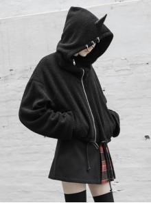 Metal Ring Unicorn Hat Drawing Rope Hem Black Punk Short Velvet Coat