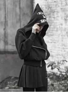 Street Embroidery Alphabet Sharp Angle Hat Drop-Shoulder Sleeve Metal Diagonal Zipper Black Punk Short Jacket