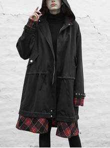 Sharp Angle Hat Waist Drawing Rope Hasp Cuff Splice Lattice Hem Black Punk Long Jacket