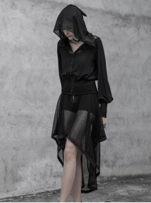 Black Splice Mesh V-Neck Sharp Angle Hat Skeleton Button Gothic Short Cardigan