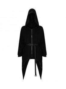 Spire Cap Metal Heart-Shaped Zipper Waist Hasp Irregular Sharp-Angle Hem Black Punk Coat