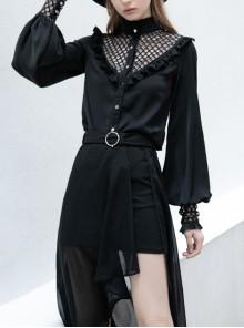 Black High Collar Chiffon Splice V-Shaped Mesh Chest Frill Mesh Cuff Gothic Blouse