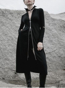 High Collar Cross Zipper Embroidery Logo Hollow-Out Elbow Black Long Gothic Knitted Coat