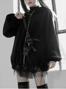 Clown Hat Rabbit Backpack Elastic Rope Black Punk Velvet Coat