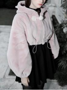 Stereo Ear Fluffy Ball Tail Plush Ball Button Drawstring Hem Elastic Strap Cuff Pink Punk Short Coat