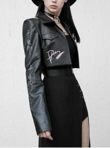 Chinese Style Pattern Printing Metal Buckle Mazarine Suit Version Short Punk Jacket