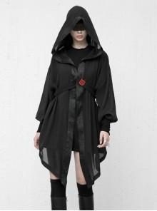 Sharp Wizard'S Hat National Embroidered Cross Belt Large Lantern Sleeve Black Gothic Chiffon Sunscreen Jacket
