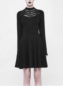 Black Small High Collar Chest Splice Mesh Rivet Back Zipper A Type Hem Punk Knit Dress