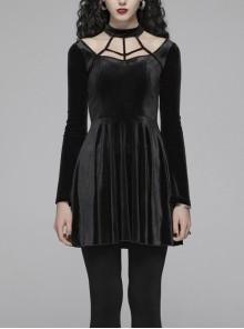 Chest Bandage Small Horn Sleeve Back Lace-Up Pleat Hem Black Gothic Velvet Dress