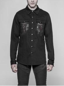 Black Broken Holes Keel Pattern Long Sleeve Gothic Denim Shirt