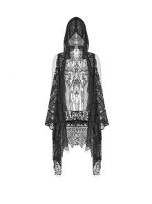 Big Hood Black Gothic Lace Sleeveless Cloak