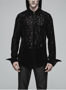 Placket Embroidery Angled Cuff Black Gothic Flocking Lace Shirt