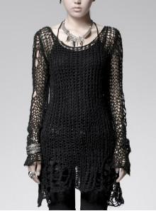 Black Broken Holes Long Sleeve Round Collar Punk Sweater