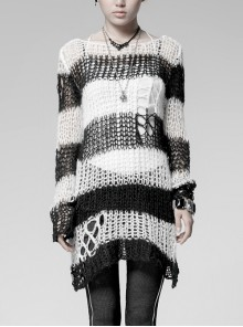 Black And White Broken Holes Long Sleeve Round Collar Punk Sweater