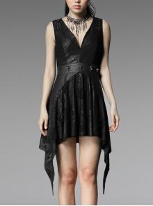 V-Neck Shoulder Lace-Up Waist Skulls Decoration Asymmetric Sharp Cutting Hem Black Punk Dress
