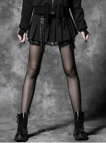 Black Cross Sagging Belt Lace Hem Punk Short Skirt