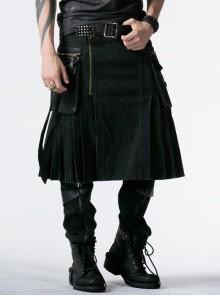 Side Pockets Zipper Decoration Sagging Bandage Frill Hem Black Punk Kilt