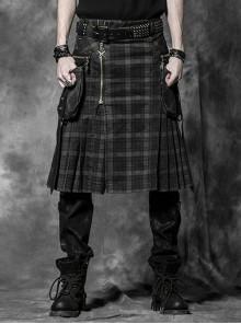 Side Pockets Zipper Decoration Sagging Bandage Frill Hem Black And Grey Plaid Punk Kilt