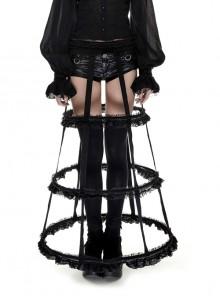 Black Lolita Banked Lace Gothic Bustle