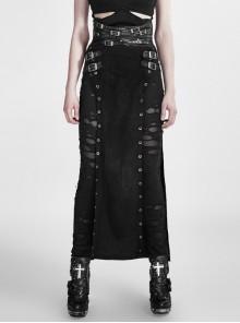 High Waist Cross Leather Loop Metal Buckle Side Hollow-Out Black Punk Broken Holes Mesh Long Skirt