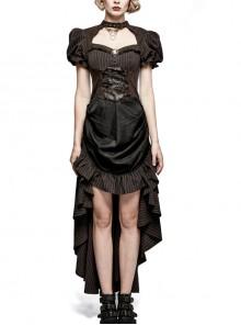 Brown Stripe Hasp Collar Gear Pattern Print Brooch Back Rear Long Frill Hem Punk Dress
